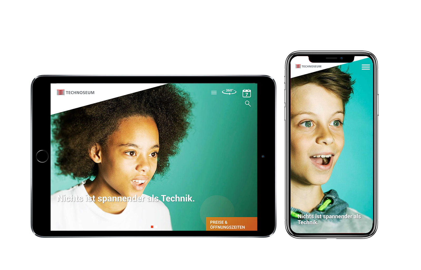 Relaunch der Website des TECHNOSEUMS Mannheim. Auf dem Bild: Screenshots der neuen Website auf mobilen Endgeräten.