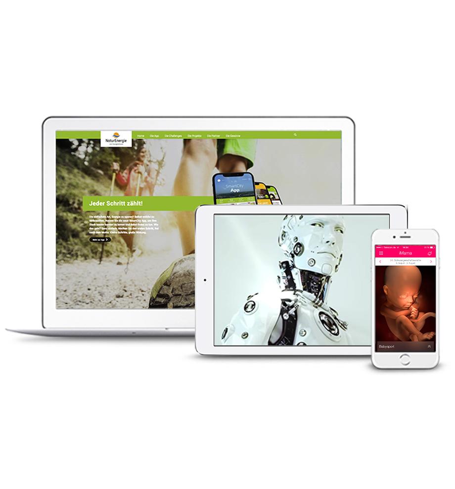 Arbeitsbeispiele von Projekten auf verschiedenen Endgeräten (Auswahl): Web auf Desktop (www.smartcity-app.de), Spot