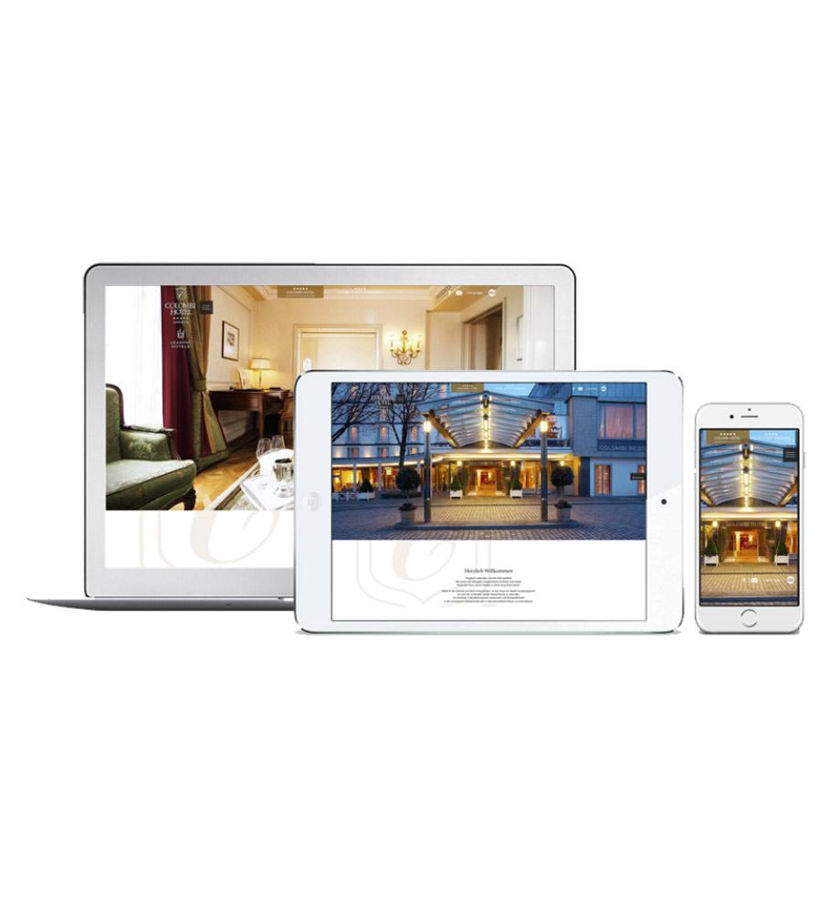 Neue Webseite für das Colombi Hotel in Freiburg (colombi.de) auf Laptop, Tablet und Smartphone dargestellt.