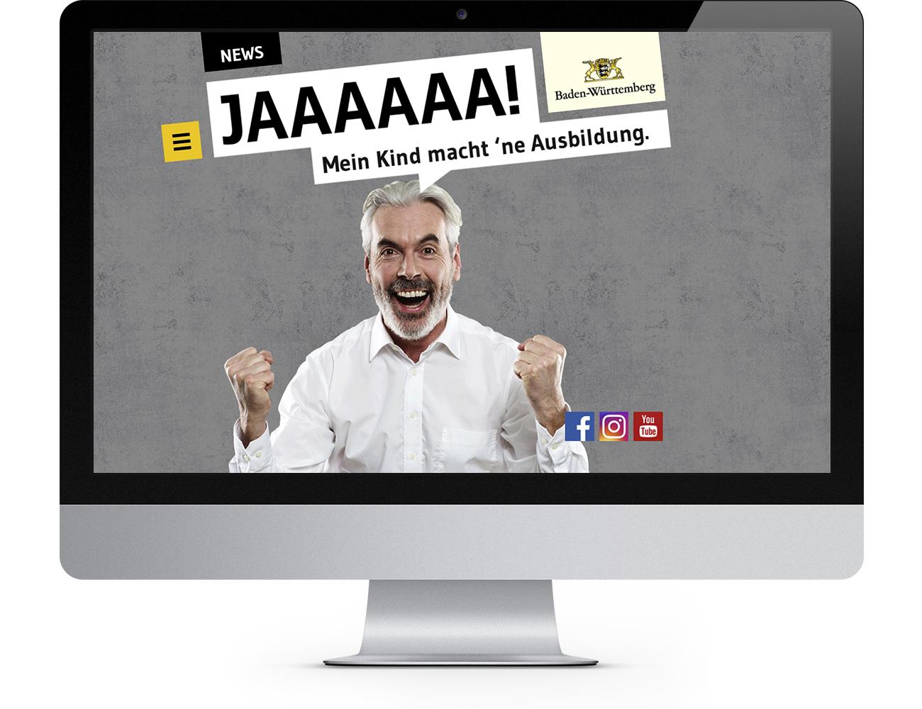 Screenshot des Webauftritts der Kampagne Ja zur Ausbildung des Ministeriums für Arbeit und Wohnungsbau Baden-Württemberg, realisiert von der Werbeagentur Schleiner + Partner Kommunikation