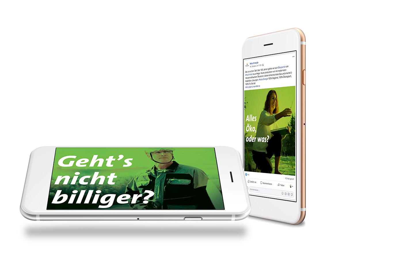 Online Marketing Kampagne für NaturEnergie. Auf den Bildern: