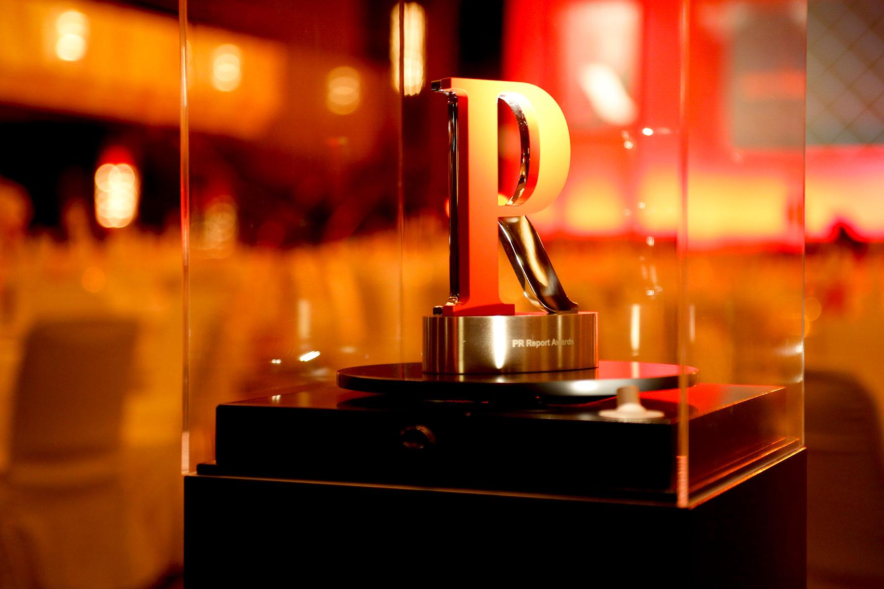 Abbildung des PR Report Awards. Werbeagentur Schleiner + Partner nominiert in der Kategorie Technologie