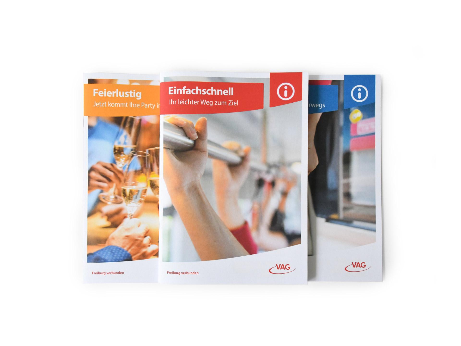 Cover der drei neuen Broschüren für die VAG Freiburg
