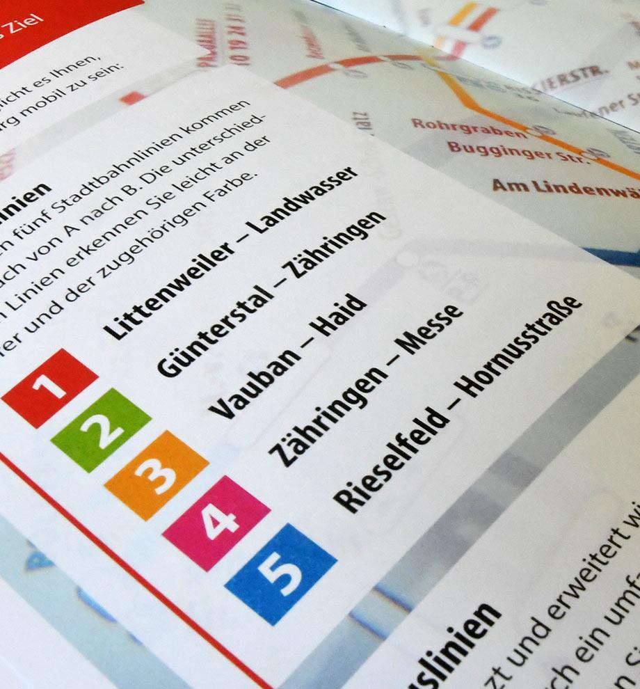 """Nahaufnahme einer Innenseite der VAG Hauptbroschüre """"Einfachschnell"""". Fokus auf die verschiedenen Linien: 1 Littenweiler – Landwasser, 2 Günterstal – Zähringen, 3 Vauban – Haid, 4 Zährigen – Messe, 5 Rieselfeld – Hornusstraße"""