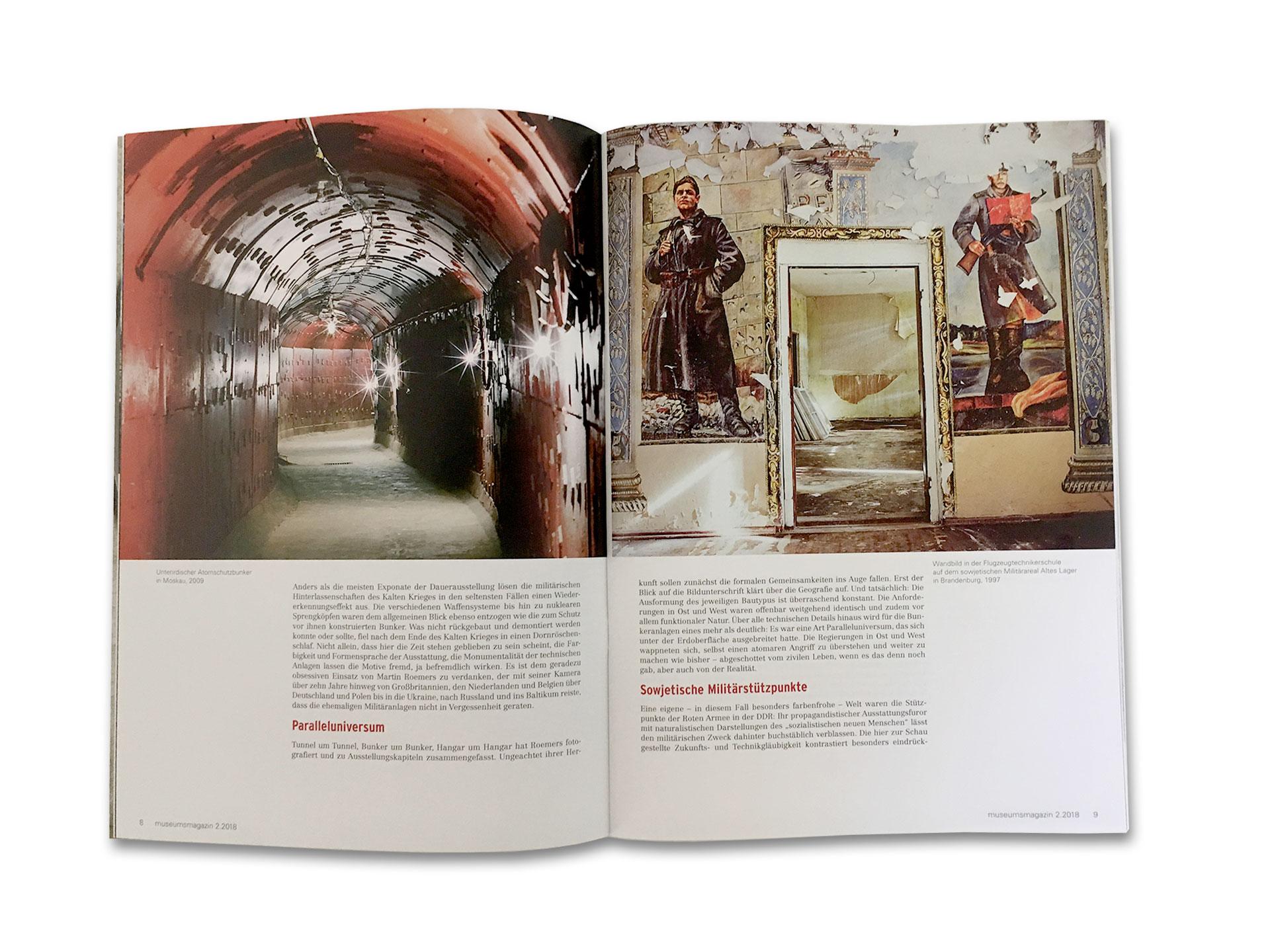 Innenseite des neuen Museumsmagazin 2.2018 für das Haus der Geschichte. Relikte des Kalten Krieges. Konzept und Gestaltung durch Schleiner + Partner