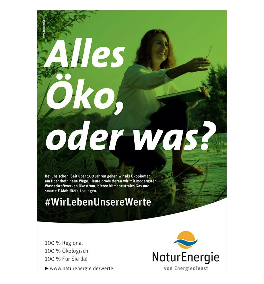 Online-Marketing Kampagne für NaturEnergie. Wir leben unsere Werte. Alles Öko, oder was?