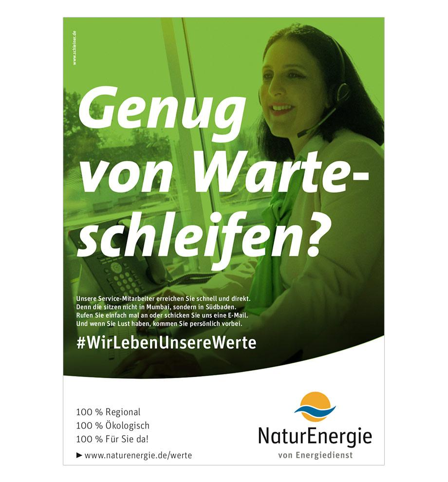 Online-Marketing Kampagne für NaturEnergie. Wir leben unsere Werte. Genug von Warteschleifen?
