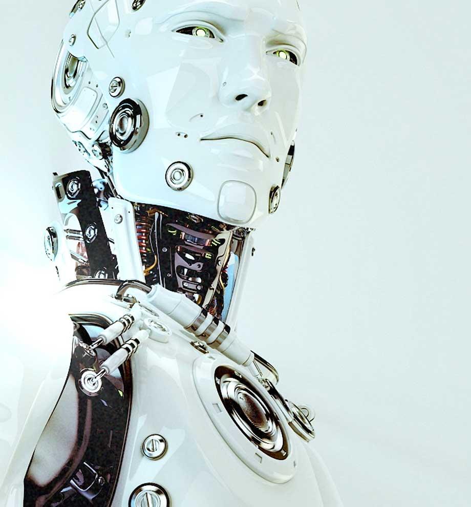 """Screenshot aus dem Social Media Clip """"Science not fiction!"""" für das TECHNOSEUM Mannheim. Zu sehen ist ein humanoider Roboter."""
