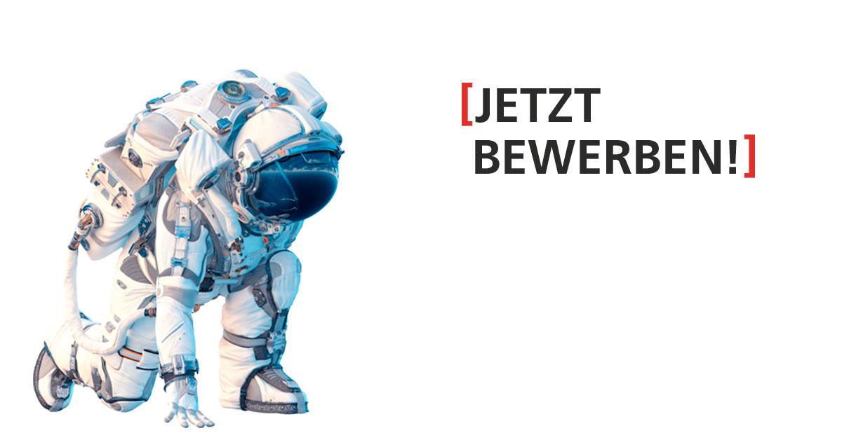 """Astroflug-Challenge des TECHNOSEUMS Mannheim – Motiv """"Jetzt bewerben!"""", ein Astronaut kniet zur Untersuchung auf weißem Hintergrund."""