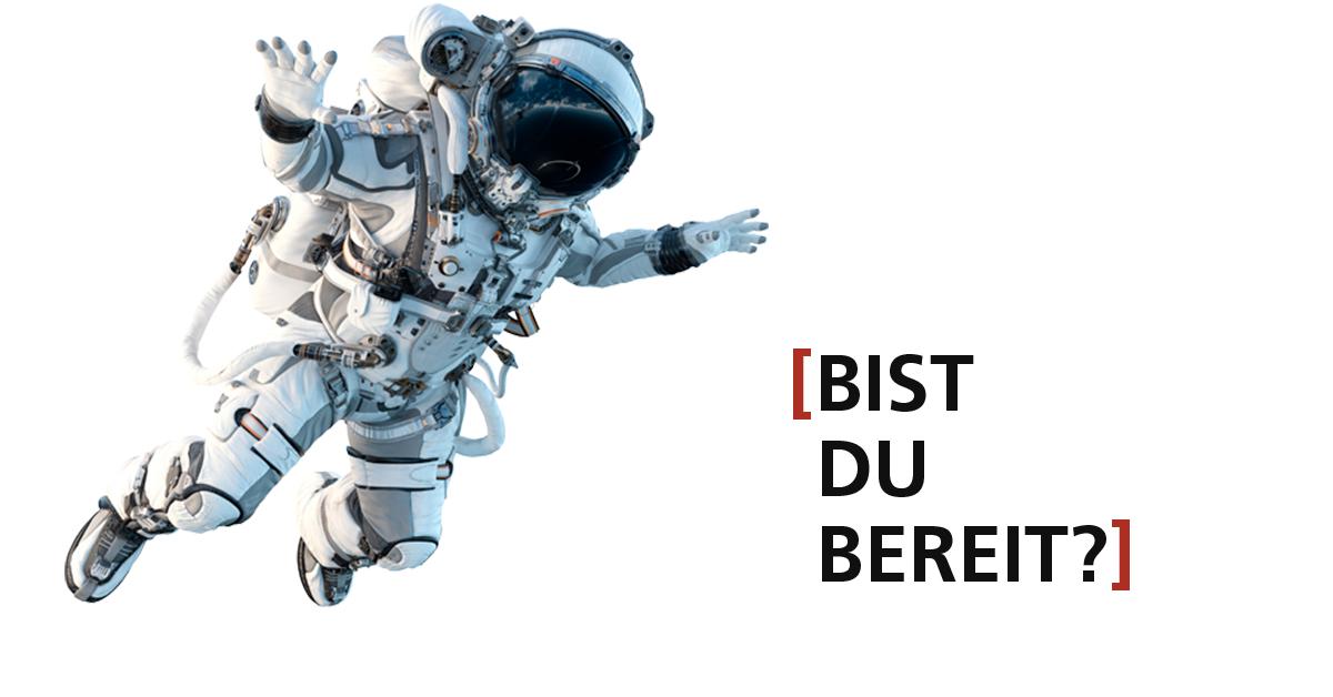"""Astroflug-Challenge des TECHNOSEUMS Mannheim – Motiv """"Bist Du bereit?!"""" 2, ein Astronaut schwebt."""