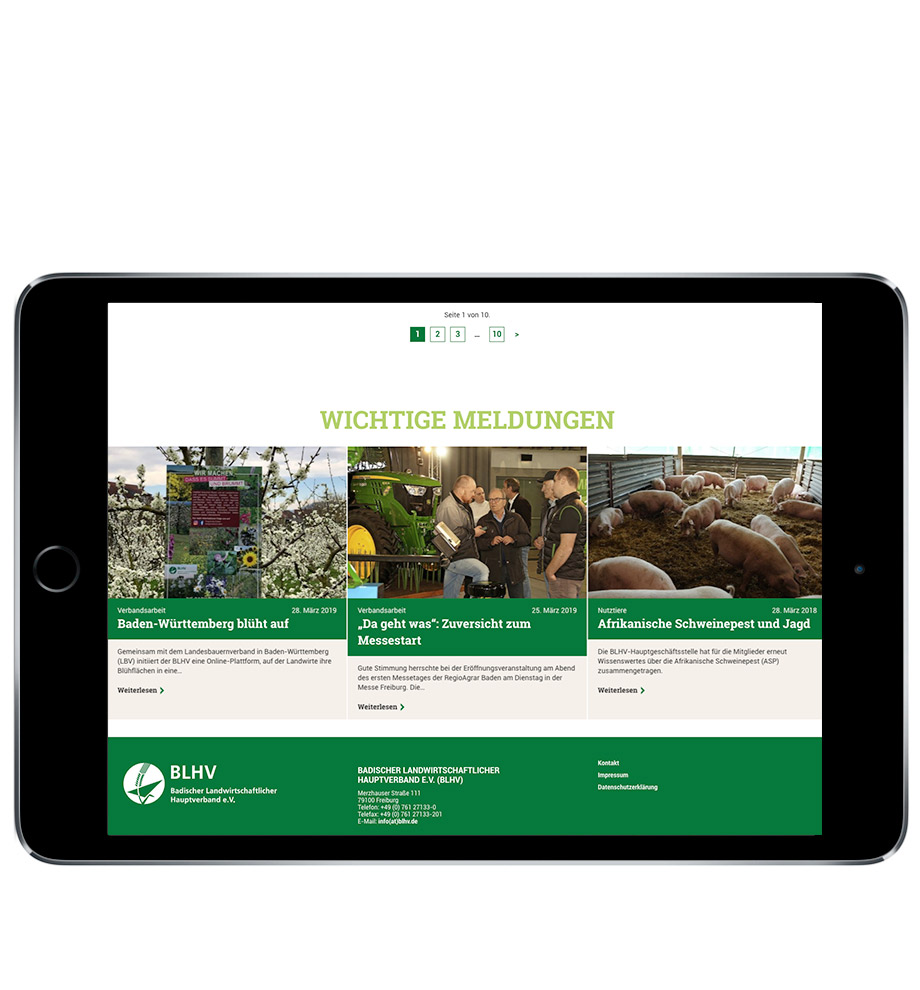 Neue Website für den BLHV, Badischer Landwirtschaftlicher Hauptverband e.V. . Gestaltet von Werbeagentur Schleiner + Partner. Auf dem Bild: Screenshot der Webseite auf einem iPad.