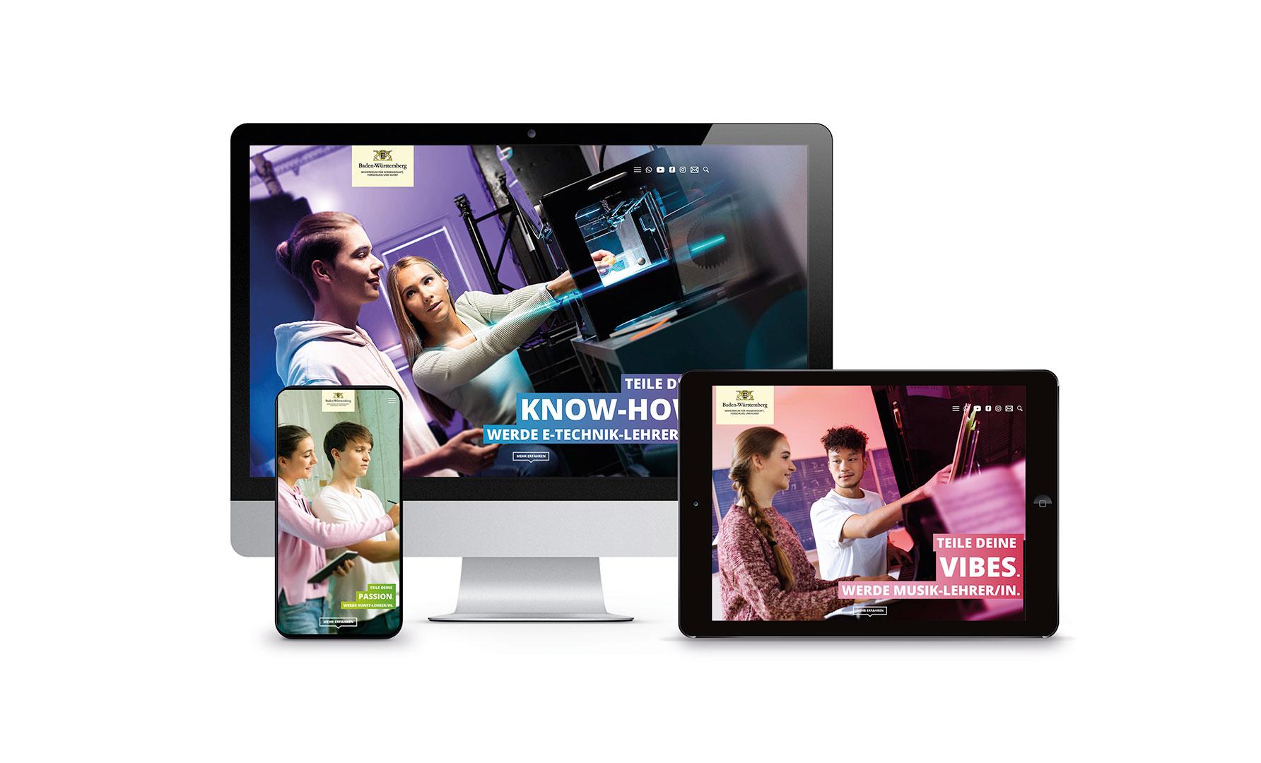 Die Website der Werbekampagne Lieber Lehramt auf Smartphone, Tablet und iMAC. Gestaltet und geführt von PR- und Werbeagentur Schleiner+Partner Kommunikation.