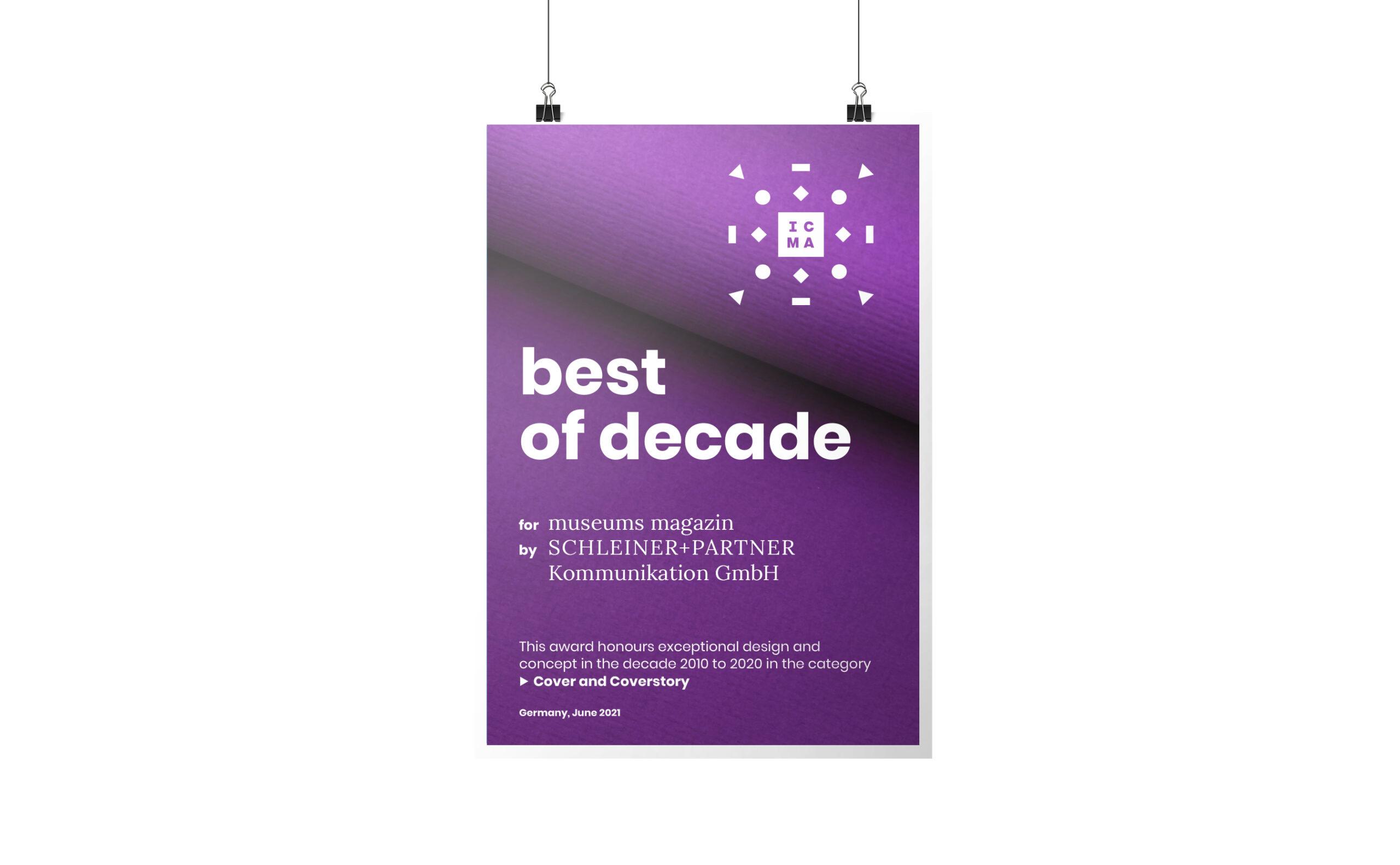 Auszeichnung best of decade für das Museums Magazin von Werbeagentur Schleiner + Partner