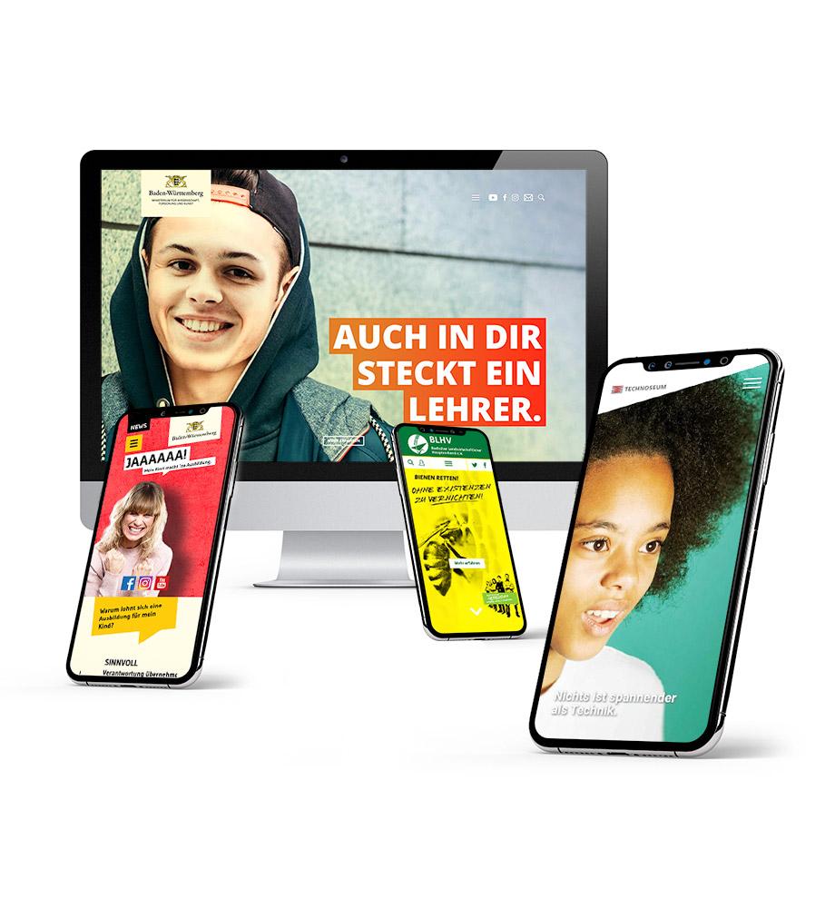 Verschiedene Webauftritte in Szene gesetzt: Lieber Lehramt, BLHV, Ja zur Ausbildung, TECHNOSEUM Mannheim