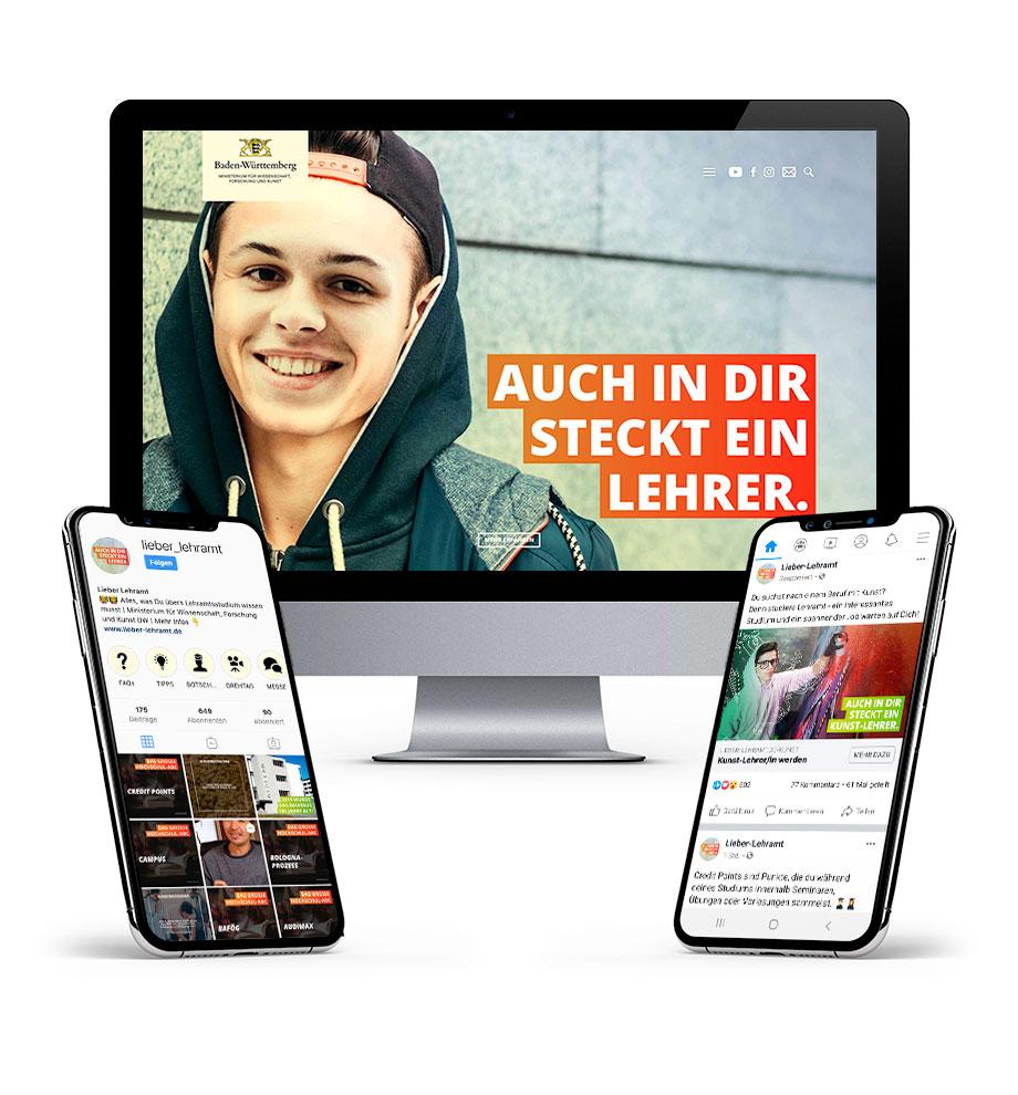 Verschiedene Werbemittel der Kampagne Lieber-Lehramt: Website, Instagram Social Media und Facebook Online Marketing