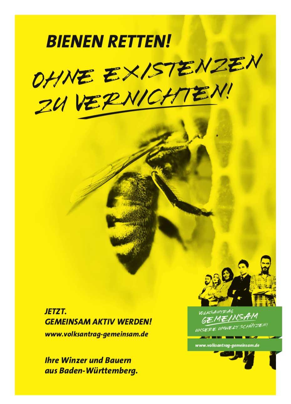 """Volksantrag Gemeinsam des BLHV – Motiv """"Bienen retten! Ohne Existenzen zu vernichten!"""""""