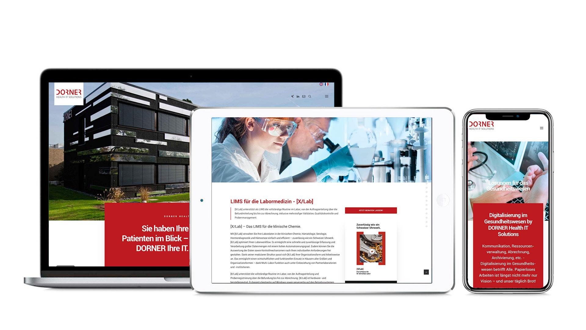 Ausschnitte der neuen Website für DORNER Health IT Solutions, entwickelt von Werbeagentur Schleiner und Partner Kommunikation