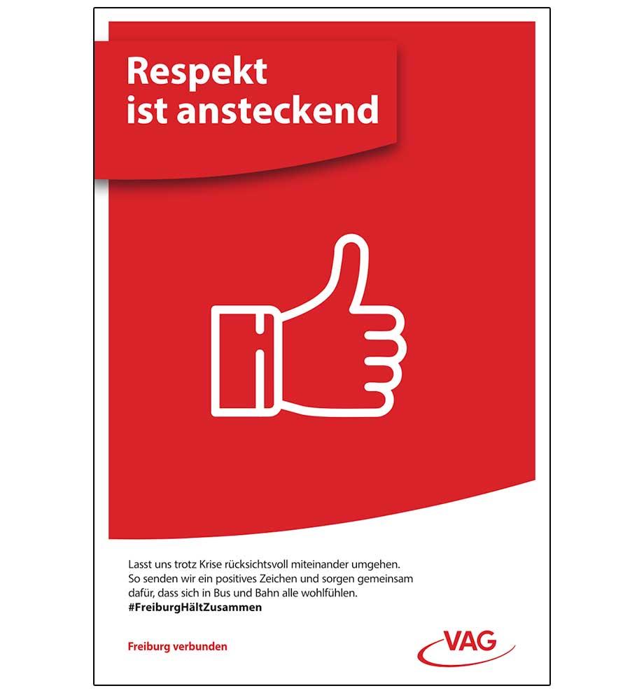 Plakatwerbung VAG Freiburg – Respekt ist ansteckend