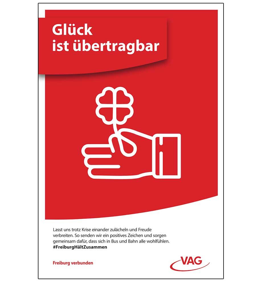 Plakatwerbung VAG Freiburg – Glück ist übertragbar