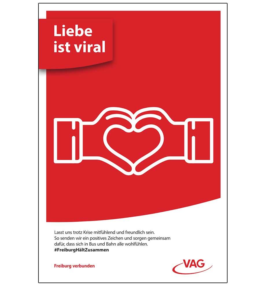 Plakatwerbung VAG Freiburg – Liebe ist viral