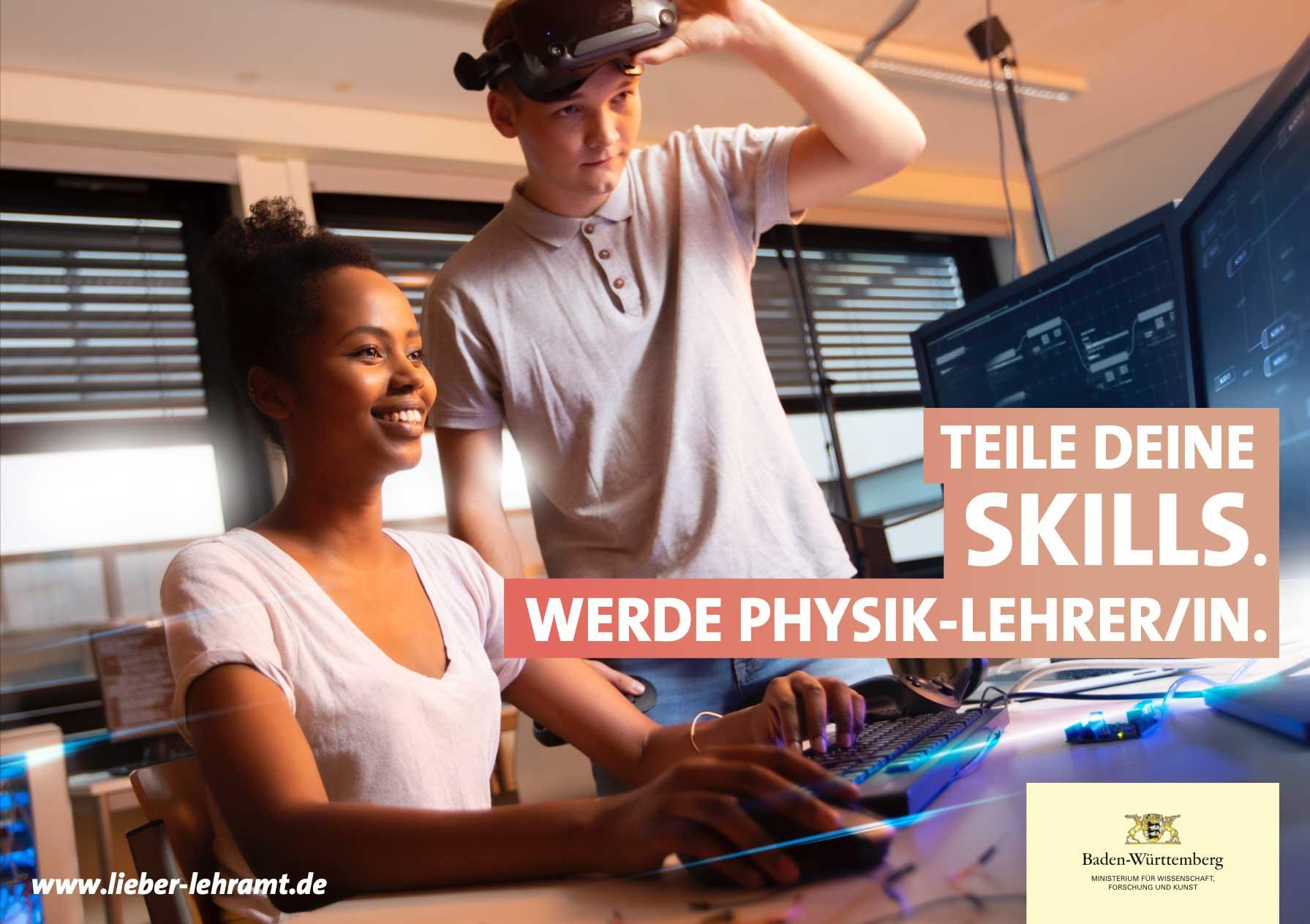 Teile Deine Skills. Werde Physik-Lehrer/in. Zwei physikinteressierte Jugendliche arbeiten im Physik-Labor.