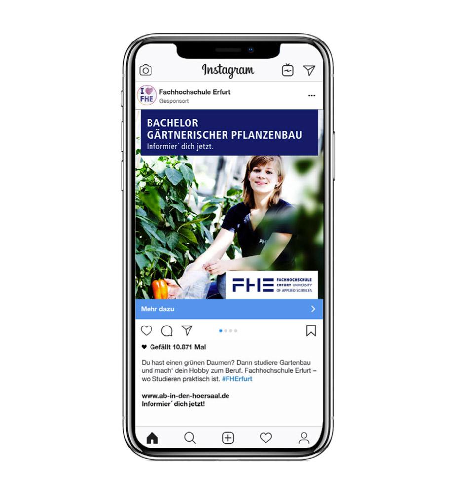 Eine Social Media Anzeige für die FH Erfurt: Bachelor Gärtnerischer Pflanzenbau. Studieren an der FH Erfurt. Informier' dich jetzt.