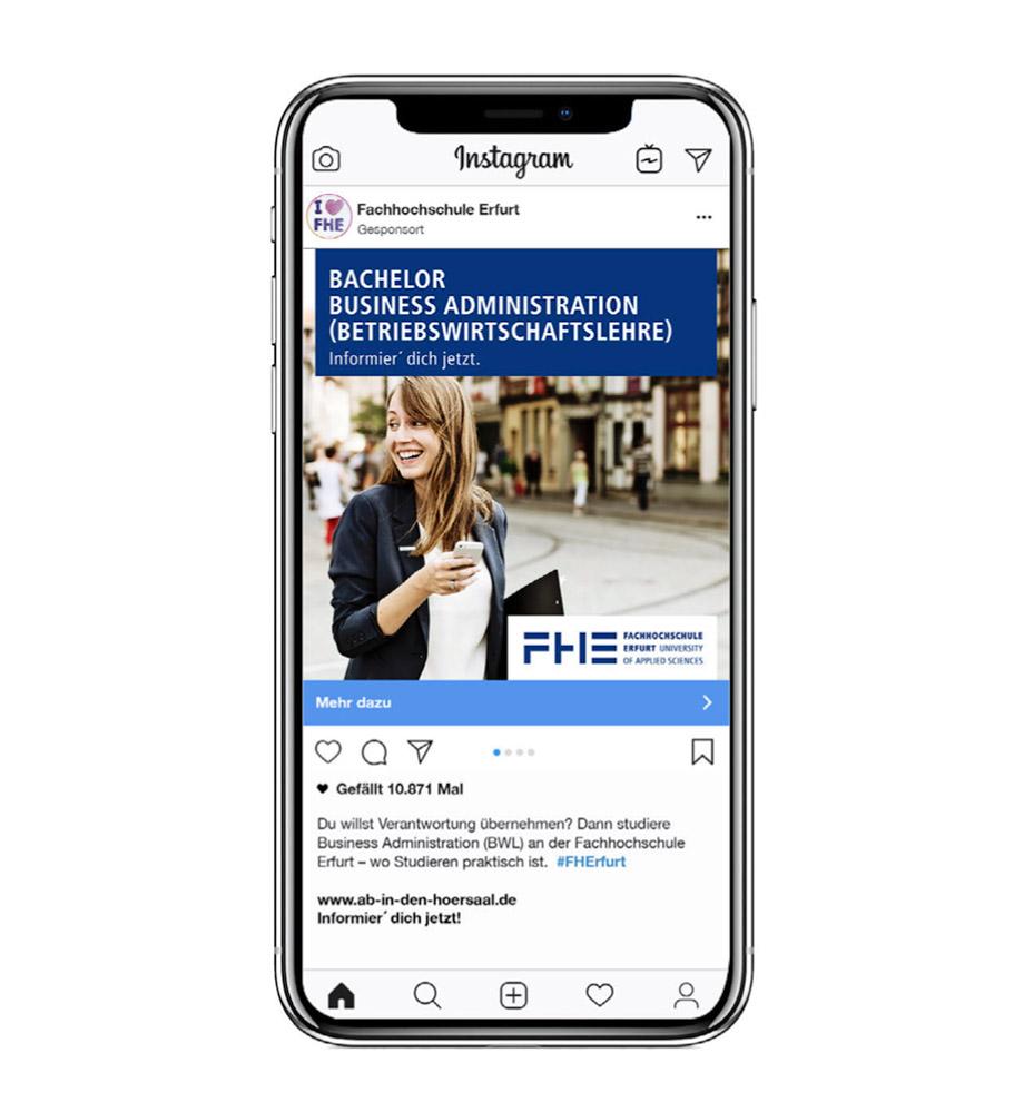 Eine Social Media Anzeige für die FH Erfurt: Bachelor Business Administration (Betriebswirtschaftslehre). Studieren an der FH Erfurt. Informier' dich jetzt.