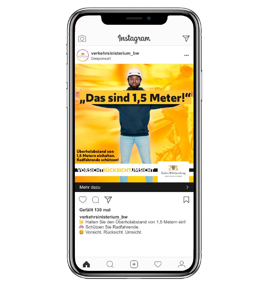 """Instagram Ad der neuen Kampagne für das Verkehrsministerium Baden-Württemberg. """"Das sind 1,5 Meter!"""" Überholabstand von 1,5 Metern einhalten. Radfahrende schützen!"""
