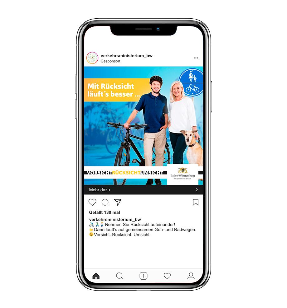 Instagram-Werbeanzeige der Werbekampagne für das Verkehrsministerium Baden-Württemberg: Mit Rücksicht läuf'ts besser ... auf gemeinsamen Geh- und Radwegen. Vorsicht. Rücksicht. Umsicht