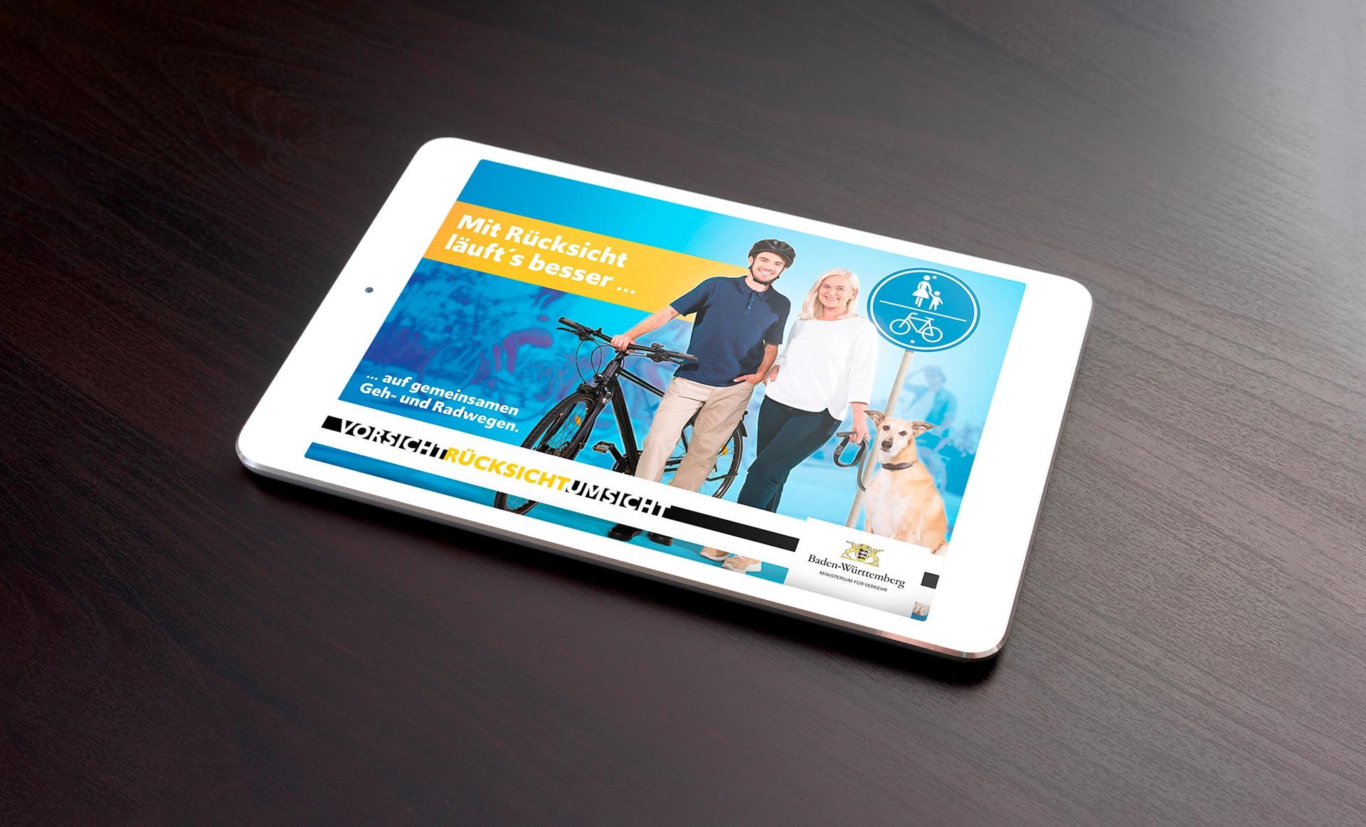 Motiv der neuen Werbekampagne für das Verkehrsministerium Baden-Württemberg: Mit Rücksicht läuf'ts besser ... auf gemeinsamen Geh- und Radwegen. Vorsicht. Rücksicht. Umsicht